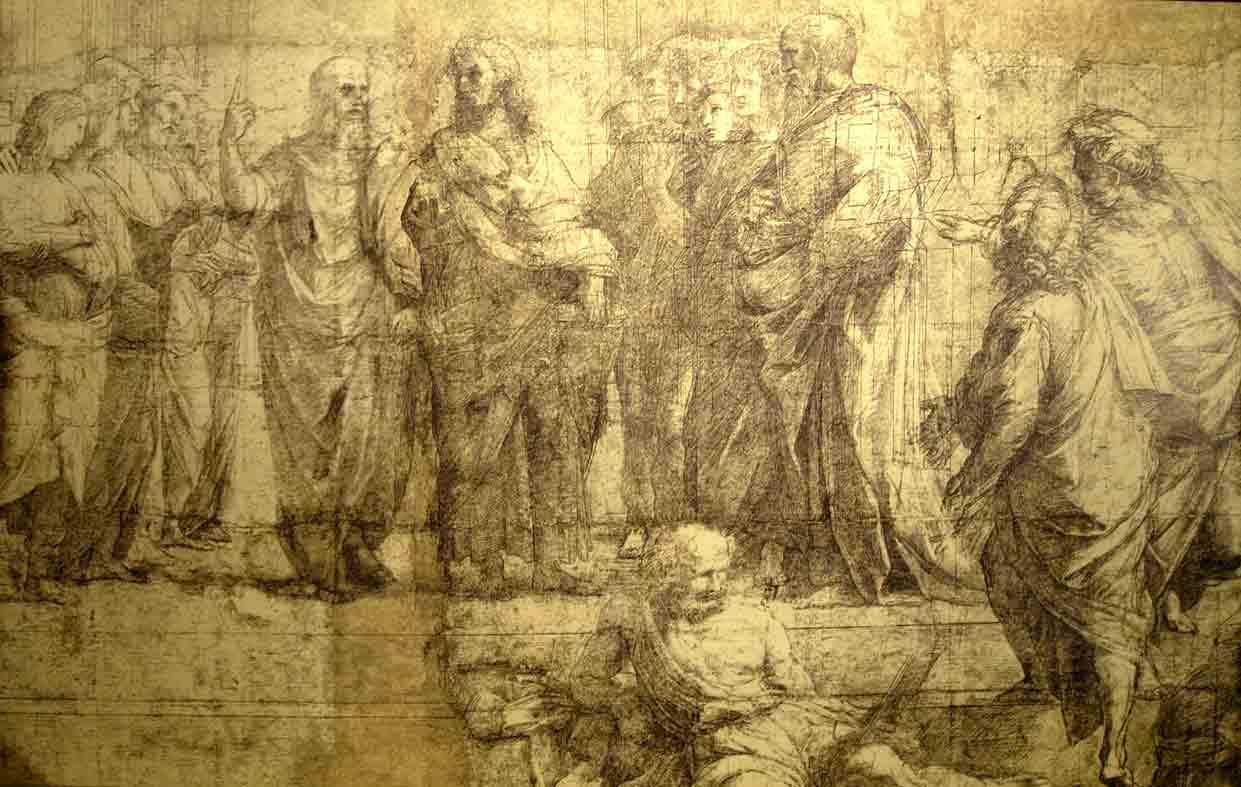 Il cartone preparatorio della celebre Scuola di Atene di Raffaello