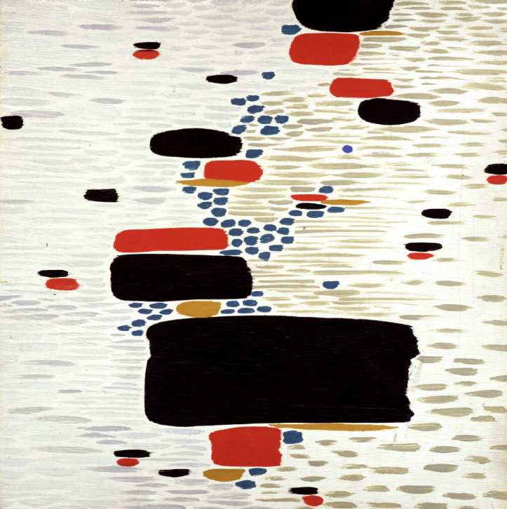 Un punto azzurro di Bruno Munari. L'opera appartiene al Museo di Villa Croce e verrà esposta nella mostra promossa dal CRAC presso la Estorick Collection