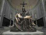 La replica in bronzo della «Pietà» di Michelangelo nel Duomo dei santi Lorenzo e Barbara di Seravezza. Foto©giacomodonati.net