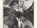 Maurits Cornelis Escher Su e giù luglio 1947 litografia in colore marrone